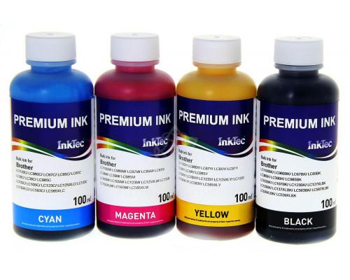 Комплект чернил InkTec B1100 для Brother LC1100 / LC980, 4 шт. (черный, синий, красный, желтый) по 0,1 л.