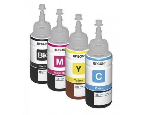 Комплект оригинальных чернил для струйных принтеров Epson L100,  L110,  L200,  L210,  L300,  L355,  L550,  L555, 4 шт. по 70 мл.