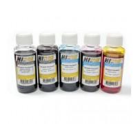 Универсальные чернила Hi-Black для принтеров и МФУ HP, (Тип H), комплект из 5 штук (черный пигментный, черный, синий, красный, желтый) по 100 мл.
