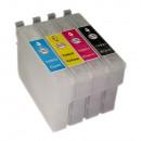 Комплект перезаправляемых картриджей для струйных принтеров и МФУ Epson Stylus C91 / Т26 / T27 / CX4300 / TX106 / TX109 / TX117 / TX119 (T0921-T0924), 4 штуки, без чернил