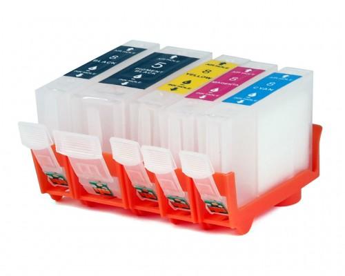 Комплект перезаправляемых картриджей для струйных принтеров и МФУ Canon Pixma iP4200 / 4300 / 4500 / 5200 / 5300 / MP500 / 530 / 600 / 610 / 800 / 600 / 610 / 800 / 810 / 830 (PGI-5BK, CLI-8Bk/C/M/Y), 5 штук, без чернил