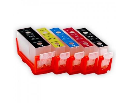 Комплект перезаправляемых картриджей для струйных принтеров и МФУ Canon Pixma iP7240 / MX924 / MG5440 / MG5540 / MG6340 / MG6440 (PGI-450BK, CLI-451Bk/C/M/Y), 5 штук, без чернил