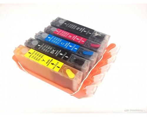 Комплект перезаправляемых картриджей для струйных принтеров и МФУ Canon  PIXMA MG6840 / MG5740 / TS5040 / TS6040 (PGI-470, CLI-471), 5 штук, без чернил