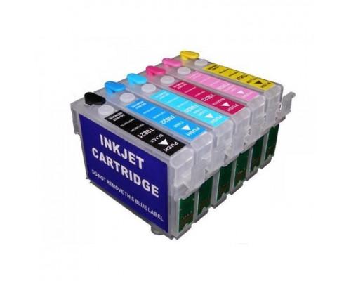 Комплект перезаправляемых картриджей для струйных принтеров и МФУ Epson  Stylus Photo P50 / PX650 / PX659 / PX660 / PX700W / PX720WD / PX820FWD (T0801-T0806), 6 штук, без чернил