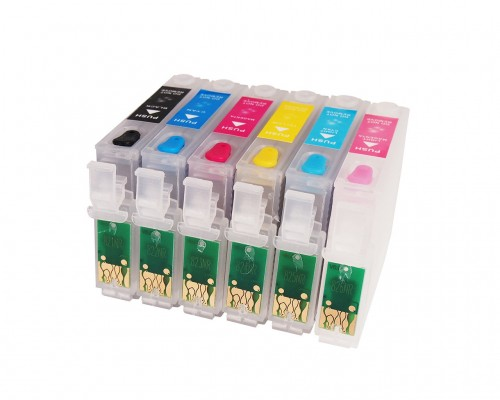Комплект перезаправляемых картриджей для струйных принтеров и МФУ Epson R270 / R290 / R295 / R390 / RX590 / RX610 / RX615 / RX690 / Т50 / Т59 / 1410 / TX700 / TX710 / TX800 / TX810, T0821-T0826 (T0811-T0816), 6 штук, без чернил