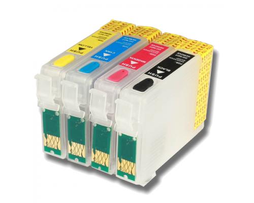 Комплект перезаправляемых картриджей для струйных принтеров и МФУ Epson Stylus S22 / SX120 / SX125 / SX130 / SX230 / SX235W / SX420W / SX425W / SX430W / SX435W / SX440W / SX445W / BX305F / BX305FW (1281-T1284), 4 штуки, без чернил