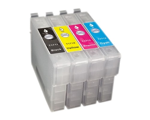 Комплект перезаправляемых картриджей для струйных принтеров и МФУ Epson Expression Home XP33 / XP103 / XP203 / XP207 / XP303 / XP306 / XP403 / XP406 (T1711-T1714 (T1701-T1704), 4 штуки, без чернил