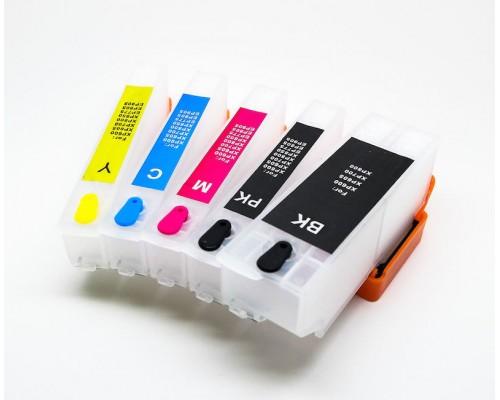 Комплект перезаправляемых картриджей для струйных принтеров и МФУ Epson Expression Premium XP-600 / XP-605 / XP-700 / XP-800 (T2621, T2631-T2634), 5 штук, без чернил