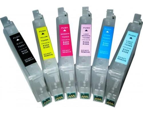 Комплект струйных картриджей для Epson Stylus Photo R200 / R220 / R300 / R320 / R340 / RX500 / RX600 / RX620 / RX640 (Hi-Black Ink), 6 штук (Bk, C, M, Y, CL, ML)