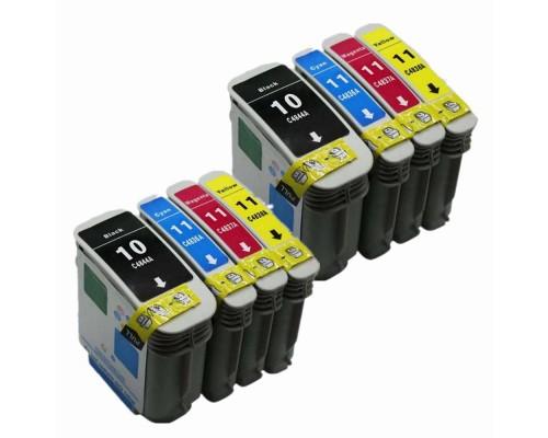 Комплект струйных картриджей для HP Business Inkjet 1000 / 1100 / 1200 / 2000C / 2200 / 2230 / 2250 / 2280 / 2300 / 2500C / 2600 / 2800 / 3000, Officejet 9110 / 9120 / 9130 (Hi-Black Ink), № 10 (Bk), № 11 (Cyan, Magenta, Yellow), 4 штуки