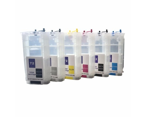 Комплект струйных картриджей для HP DesignJet-T610 / T620 / T770 / T790 / T795 / T1100 / T1120 / T1200 / T1300 / T2300 (Hi-Black Ink), 6 штук (Bk, C, M, Y, GY, MBk)
