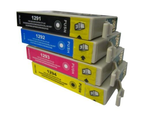 Комплект струйных картриджей T1291-T1294 для Epson Stylus SX230 / 235W / SX420W / SX425W / BX305F (Hi-Black Ink), 4 штуки