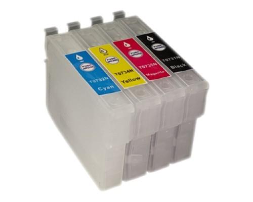 Комплект перезаправляемых картриджей для струйных принтеров и МФУ Epson Stylus C79 / С110 / CX3900 / CX4900 / CX6900 / CX7300 / CX8300 / CX9300F / X200 / TX209 / TX210 / TX219 / TX400 / TX410 / TX419 / TX510 / T40W (T0731-T0734), 4 штуки, без чернил